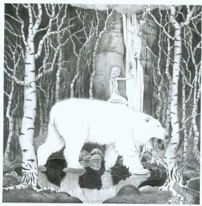 kvitbjørn i bjørkeskog