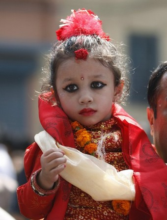 Matina Shakya is taken to her temple after being appointed as the new living Goddess or Kumari in Kathmandu